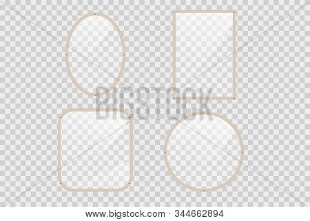 Empty Mirrors With Reflect In Mockup Style.  Realistic Mirrors. Metal Round And Rectangular Mirror F