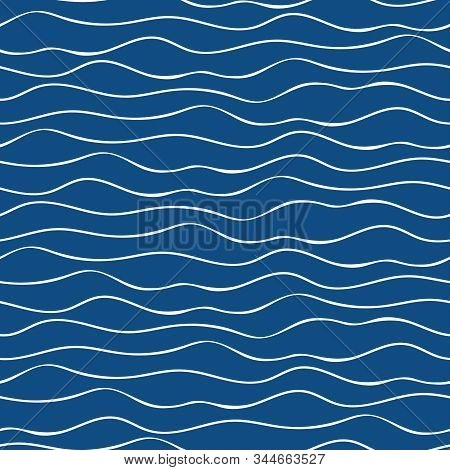 Vector Abstract Hand Drawn White Doodle Ocean Waves. Seamless Geometric Pattern On Navy Blue Backgro