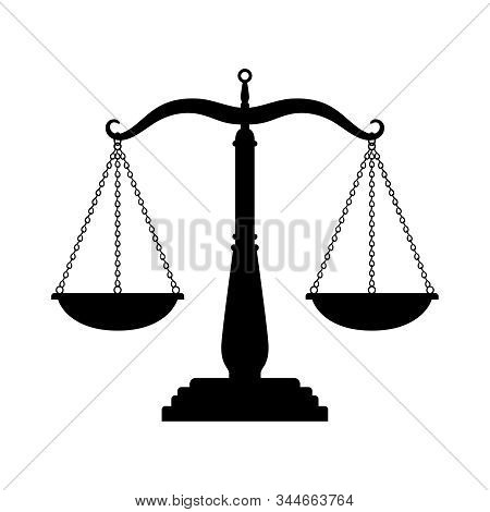 Balance Scales Black Icon. Judge Scale Silhouette Image, Trading Weight And Law Court Symbol Vector