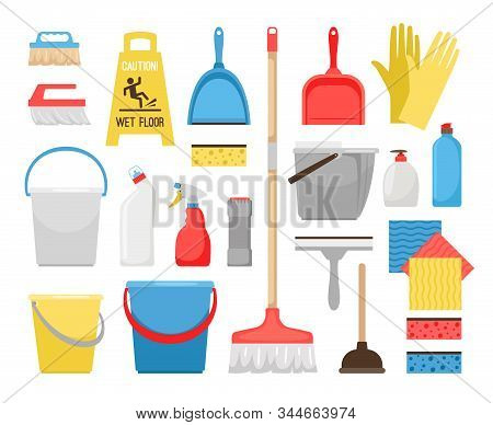 Householding Cleaning Tools. Housekeeping Tool Icons For Home And Office Cleaning, Bucket And Foam,