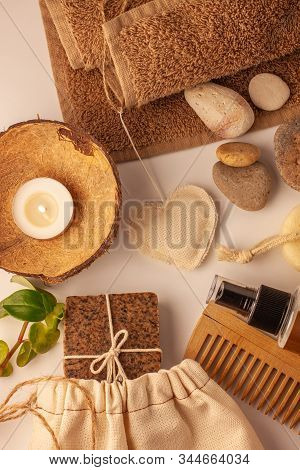 Spa Wellness Flatlay. Natural Coffee Scrub Soap, Eco Bag, Oil Cosmetic Spray, Peeling Sand Stone,tow