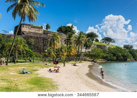 Fort-de-france, Martinique - December 13, 2018: La Francaise Beach (plage De La Francaise) Is Locate
