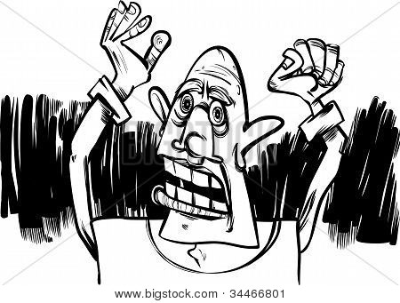 Cartoon Sketch Of Scared Man