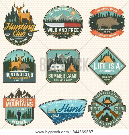 Set Of Hunting Club And Hiking Club Badge. Vector. Concept For Shirt Or Logo, Print, Stamp , Patch.