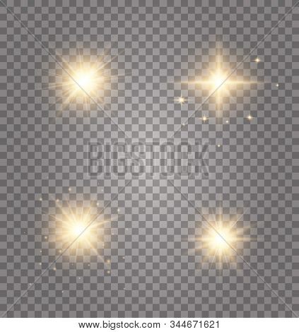 Set Of Golden Glowing Lights Effects Existing On A Transparent Background. Glowing Light Explodes. A