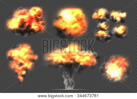 Exploding Bomb. Light Effect Smoke And Fireball Dramatic Explosions Clouds Vector Template. Illustra