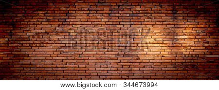 Brick Wall Of Red  Wide Panorama Background Of Old Vintage Brick Wall.