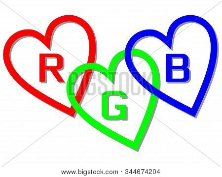 Rgb Color Space Designed Like Hearts With Letters R, G And B, Basic Red, Basic Blue And Basic Green.