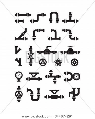 Pipe Symbols. Gas Or Water Pipelines Steam Pressure Counters Faucets Switches For Sanitary Engineeri