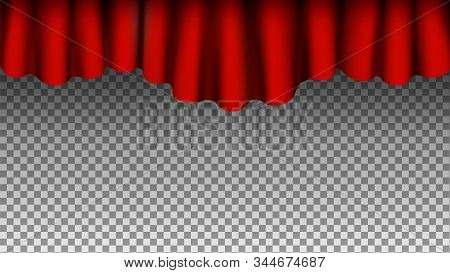 Red Silk Curtains Background. Vector Curtains Isolated On Transparent Background. Theater Opera Circ
