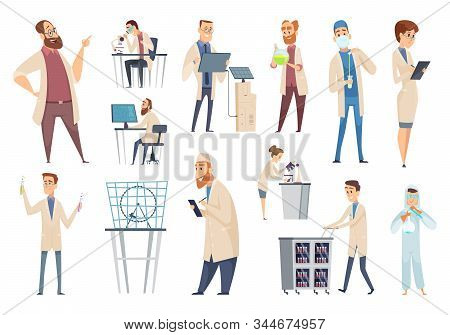Science Persons. Characters Doctors Lab Technician Workers Biologists Or Pharmacists Vector People.