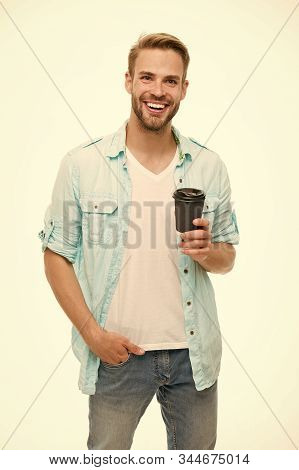 Have Coffee For Good Mood. Recyclable Coffee Cup. Hipster Man Hold Paper Coffee Cup. Relaxing Break.