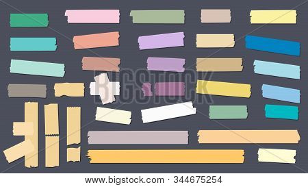 Washi Colored Tapes. Scrapbook Decorative Sticky Adhesive Strip Papers Vector Collection. Illustrati