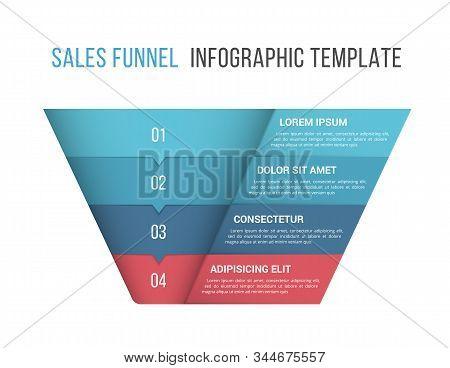 Funnel Diagram, 4 Segments, Infographic Template For Web, Business, Presentations, Vector Eps10 Illu