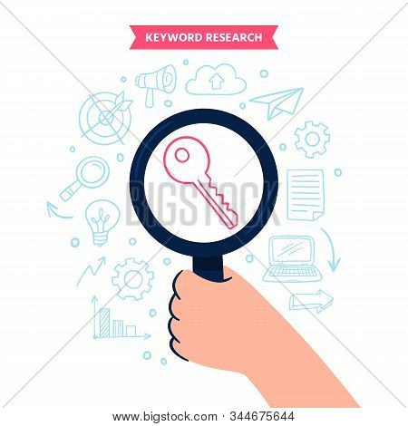Cute Keyword Search Concept With Doodle Elements. Hand Holds A Large Magnifying Glass Searching For