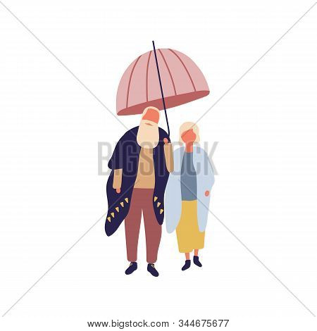 Stylish Mature Cartoon Male And Female Under Umbrella Vector Flat Illustration. Fashionable Elderly