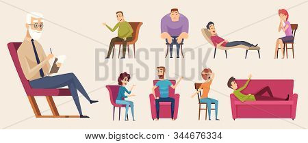 Psychotherapy Consulting. People Dialogue Crowd Conversation With Psychology Consultant Family Thera