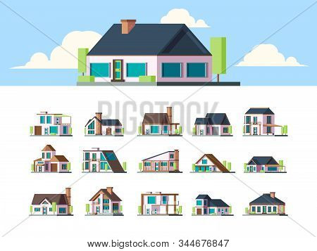 Residential Houses. Suburban Townhouse Buildings Countryside Apartments Flat Property Modern Living