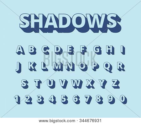 Letters Long Shadows. Alphabet With Letters And Numbers In Retro Style Typography Collection Vector