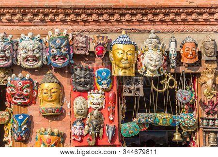 Buddhist Masks At A Souvenir Shop In Kathmandu, Nepal