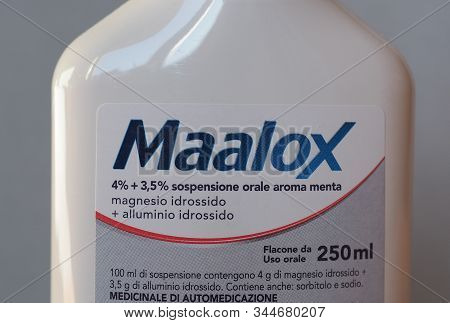 Milan - Circa December 2019: Maalox Antacid Bottle