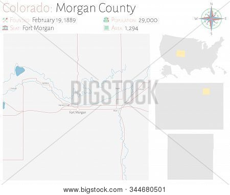 Large And Detailed Map Of Morgan County In Colorado, Usa.