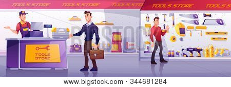 Customers And Salesman In Tool Store. Man Buy Toolbox At Counter. Vector Cartoon Illustration Of Sho