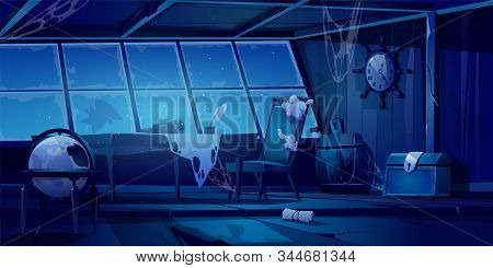 Abandoned Pirate Ship Cabin At Night. Scary Halloween Background. Vector Cartoon Illustration Of Emp