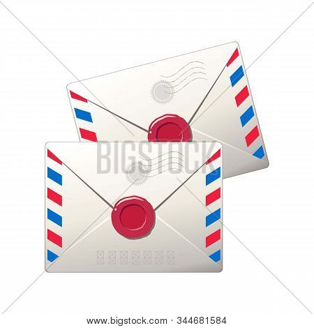 Two Mail Envelopes. Isolated Vector Image. Eps 10