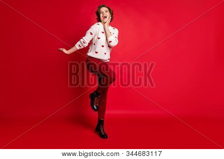 Full Length Body Size View Of Her She Nice Attractive Pretty Girlish Delighted Cheerful Cheery Glad