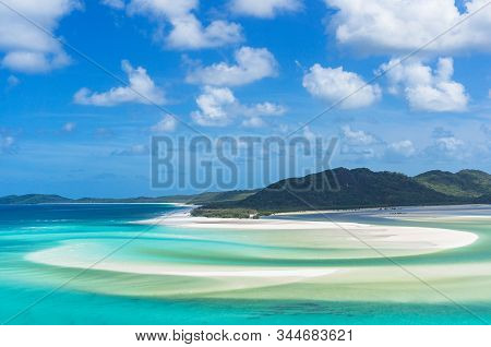 Aerial View Of Tropical Beach Lagoon With Turquoise Blue Water And White Sand On The Beach. Whitehav