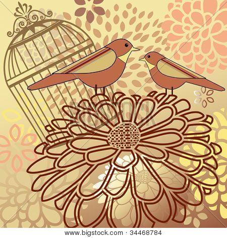 Montaje de pájaro - flores de jaula
