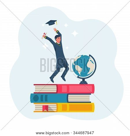Graduation Concept. Happy Graduate Guy Throws Up A Graduate Hat. Standing On Top Of Education As A G