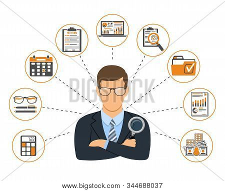 Auditing, Tax, Accounting Banner. Auditor Holds Magnifying Glass In Hand And Checks Financial Report