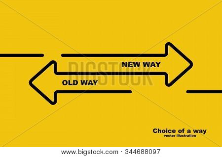 Choice Of A Way. Old Road Or New Way. Template Landing Page. Form For Web Design And Text Placement.