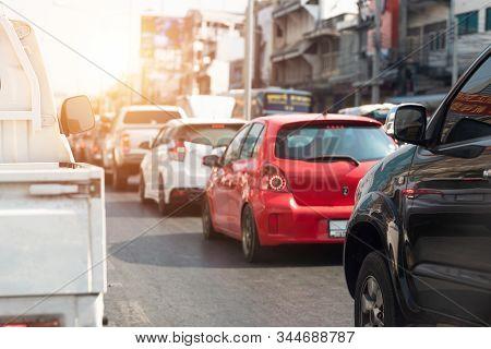 Car At The Road Traffic Jam, Car At The Road Traffic Jam.