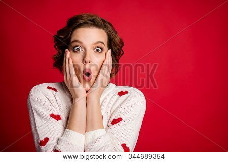 Close Up Photo Of Astonished Crazy Girl Look Unbelievable Unexpected Novelty Impressed Scream Touch