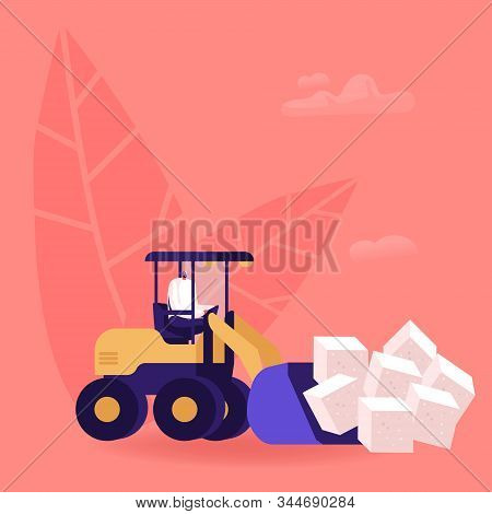 Man Loading Huge Cubes Of White Sugar With Excavator Removing Unhealthy Product From Nutrition. Peop