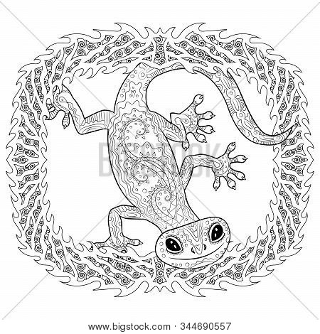 Coloring Page With Gecko In Patterned Style. Black White Hand Drawn Doodle With Reptile For Art Ther
