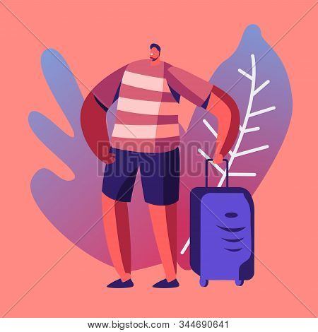 Tourist Man Wearing Summer Clothing With Suit Case Traveling Abroad On Vacation. Travel Agency Servi