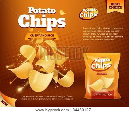 Potato Chips Bag, Vector Design Of Snack Food Advertising Poster. Crunchy And Salty Slices Of Deep F