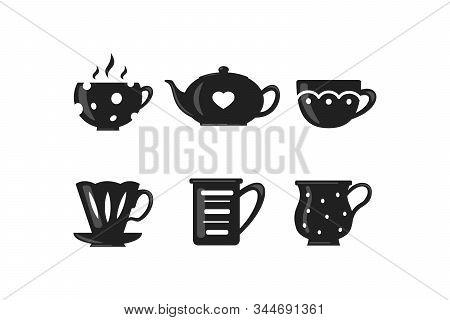 Coffee And Tea Cup Set. Teatime Mug Vector Icons In Cartoon Style.