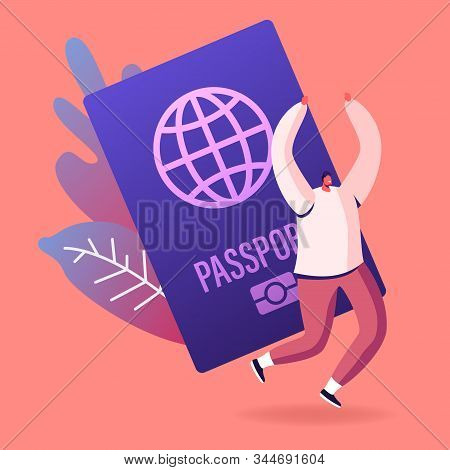 Happy Cheerful Man Rejoice With Hands Up Near Huge Foreign Or Native Passport. Tourist Getting Visa