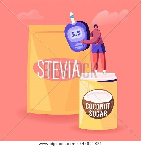 Tiny Female Character Stand On Coconut Sugar Box Near Stevia Package Holding Blood Glucose Meter Sho