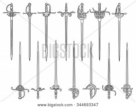 Set Of Simple Monochrome Vector Images Of Epees And Rapiers Drawn By Lines.