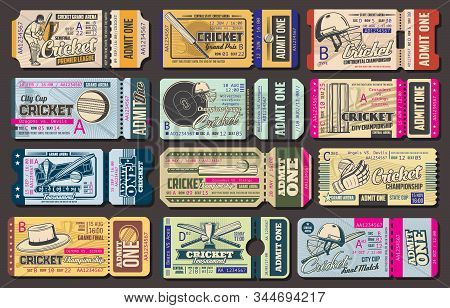 Admit Ticket Vector Templates, Cricket Sport Game Championship Match Event. Cricket Ball, Bat And Wi