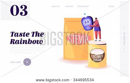 Natural Sweeteners For Diabetic People Website Landing Page. Tiny Woman Stand On Coconut Sugar Box N