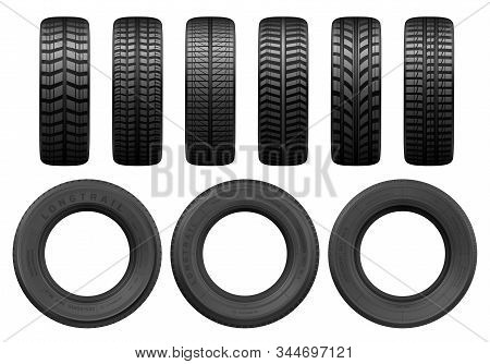 Car Black Tires, Vector Realistic Isolated Tyre Objects. Car Wheel Tyres Of Different Types, Summer