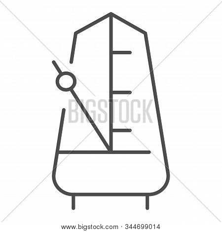 Metronome With Moving Pendulum Thin Line Icon. Tempo Vector Illustration Isolated On White. Musical