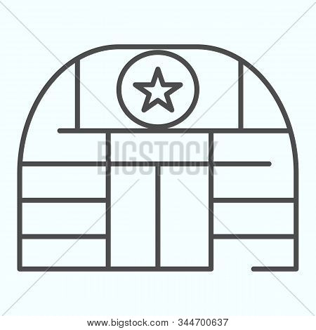 Military Base Thin Line Icon. Army Building Vector Illustration Isolated On White. Airbase Outline S